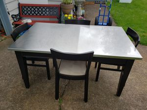 Large Stainless Top Wood Table/4 IKEA Roger Chairs-Good Condition! for Sale in Portland, OR
