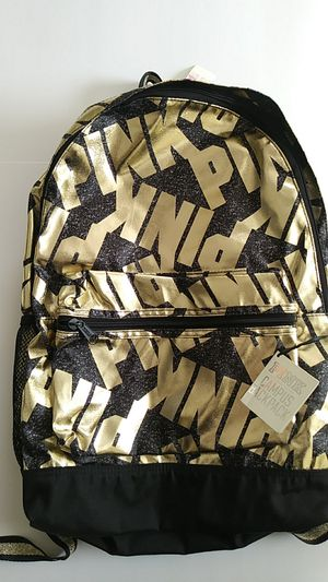 NWT PINK Victoria Secret Gold and Black Campus Backpack for Sale in Cincinnati, OH