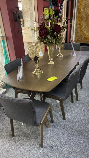 FINANCE NO CREDIT NEEDED Solid Wood Dining Set Table with 6 Fabric Chairs IW for Sale in Irving, TX