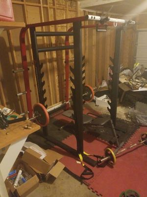 Sqaut rack with 175lb weights, bars bench..OBO for Sale in MONTGMRY, IL