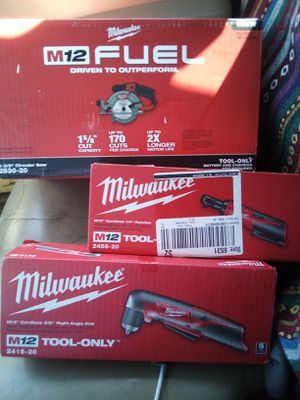 "Milwaukee M12 fuel circular saw. Milwaukee M12 1/4"" ratchet, Milwaukee M12 3/8"" right angle drill for Sale in Austin, TX"