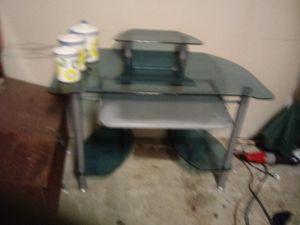 Blue glass computer desk for Sale in Ocean Shores, WA