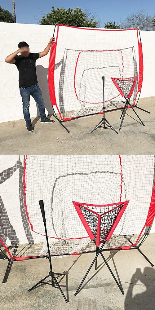 New $95 Baseball Practice (3pc Set) includes the 7'x'7 Net Bow Frame, Ball Tee and Caddy Bag
