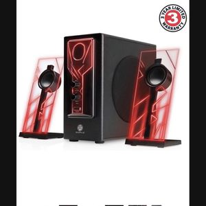 GOgroove BassPULSE 2.1 Computer Speakers with Red LED Glow Lights and Powered Subwoofer - Gaming Speaker System for Music on Desktop , Laptop , PC wit for Sale in Redlands, CA