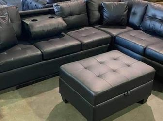 Heights Espresso Faux Leather Reversible Sectional with Storage Ottoman ❗$39 Down Payment 100 Days Same As Cash for Sale in Austin,  TX