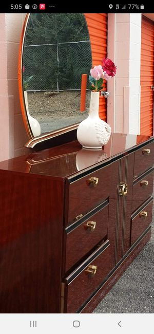 QUALITY SOLID WOOD LONG DRESSER WITH BIG MIRROR AND BIG DRAWER DRAWER SLIDING SMOOTHLY EXCELLENT CONDITION for Sale in Fairfax, VA