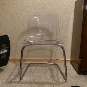 4 Clear, Chrome Plated Dining Chairs for Sale in Bend, OR