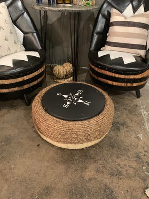 Recycled tire ottoman with wood top for Sale in Portland, OR