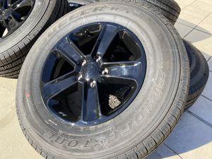 "18"" OEM Jeep Wrangler Sahara Wheels Gloss Black Bridgestone 255/70/18 New Tires for Sale in Rancho Cordova, CA"