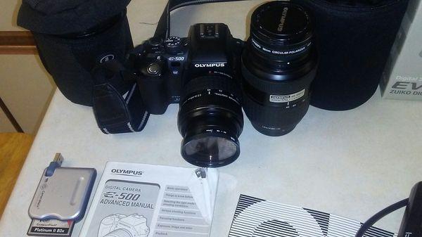 Olympus evolt e-500 digital camera with lense