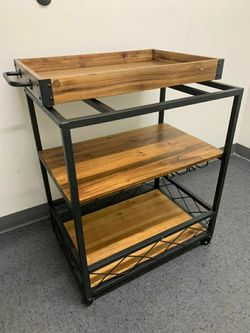 Brand new kitchen utility cart 3 tier microwave cart removable tray with wheels rolling baker rack 26x18x33 inches for Sale in Whittier,  CA