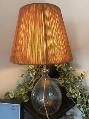 Vintage unique glass lamp and orange knit lampshade for Sale in West Hollywood, CA