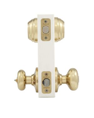 Kwikset Juno Polished Brass Exterior Entry Door Knob and Double Cylinder Deadbolt Combo Pack Featuring SmartKey Security for Sale in Redlands, CA
