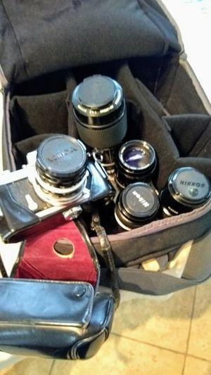 Nikkormat FT Camera, Extension Tube, 5 Lenses for Sale in Seal Beach, CA