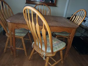 Antique kitchen table with beautiful matching wood chairs for Sale in Colorado Springs, CO