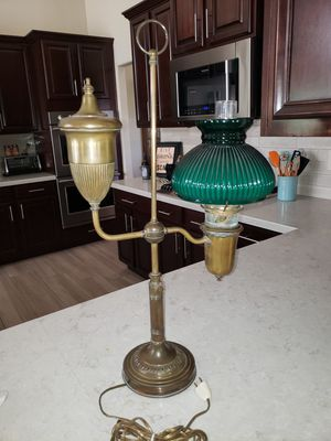 Vintage Converted Brass Student Oil Lamp with Emerald green Shade for Sale in Mesa, AZ