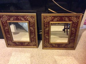 Antique Burgundy and Gold Floral Mirror , Set of 2 : size 18.5in by 20.5in for Sale in Silver Spring, MD
