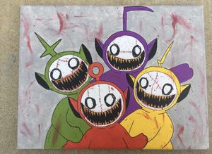 Horror Teletubbies Handmade Canvas Painting for Sale in Hollister, CA