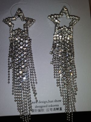 "Crystal & Chain 3"" Earrings for Sale in San Leandro, CA"