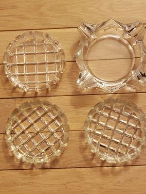Glass Ashtray + 3 Glass Coasters for Sale in Arlington, VA