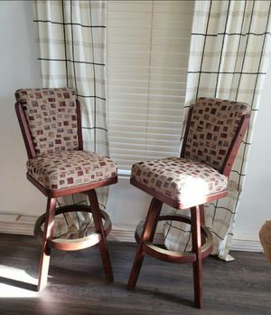 Bar stools set of 2 great quality wooden swivel for Sale in Victorville, CA