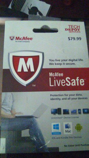 McAfee live safe unlimited device license for Sale in Murrieta, CA