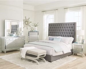 QUEEN SIZE GREY UPHOLSTERY BED FRAME PICK UP TODAY for Sale in Chino, CA