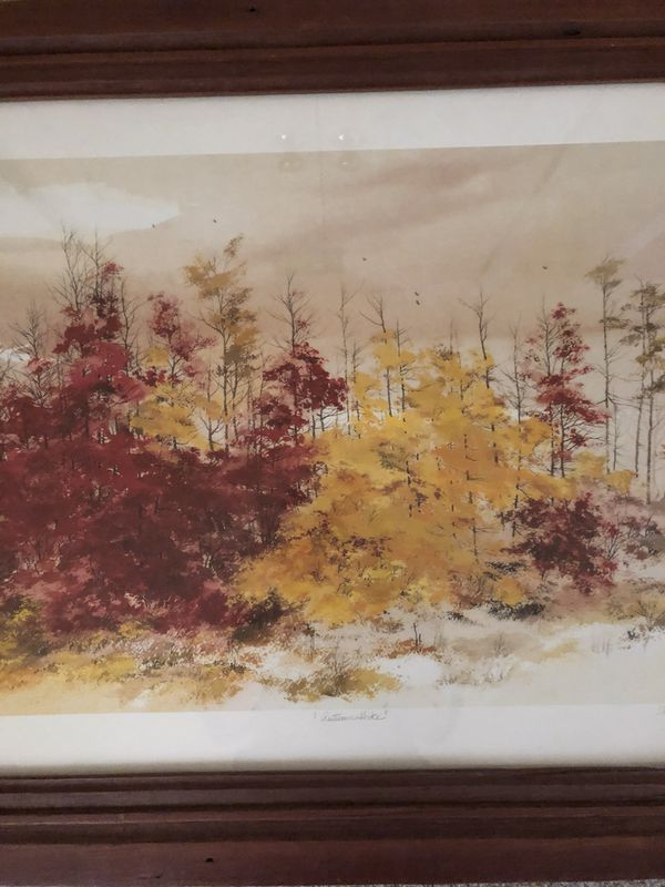Autumn Hike Print by John Allen Stock 1986 with Wide Dark Wood Frame under Glass. 32 inches wide by 26 inches tall.