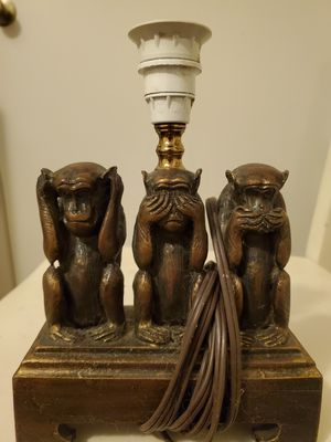 Three Wise Monkeys Lamp (Antique) for Sale in Flowery Branch, GA