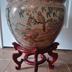 Antique Large Oriental Hand Painted Pot Birds Floral Design Goldfish for Sale in Pearland, TX