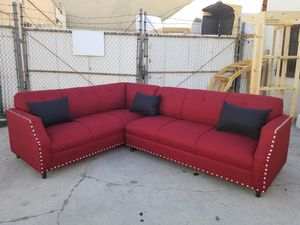 NEW 7X9FT CASSANDRA WINE FABRIC SECTIONAL COUCHES for Sale in Tulare, CA