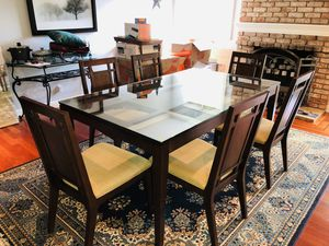 Glass top Mahogany Dining Table 42x32x31H and 6 chairs for Sale in San Jose, CA