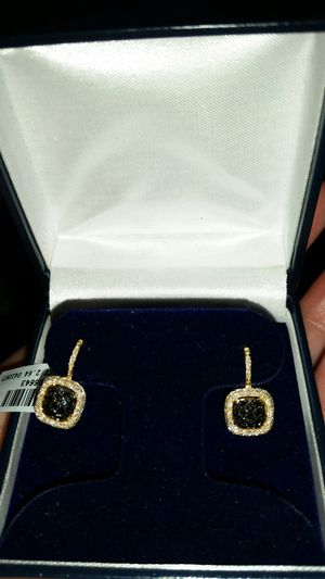 Black and white diamond earrings mounted in 14k yellow gold. for Sale in Pasadena, MD