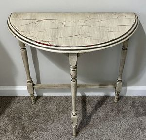 Vintage Antique Frankson Product Half Round Moon Hard Wood Console Sofa Entry Hallway Foyer Table for Sale in Chapel Hill, NC