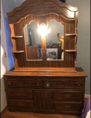 2 Piece Bedroom Set (King Bed Frame, Dresser w/ Hutch) MOVING, Must Go! for Sale in Powell, TN