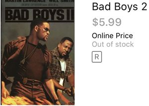 Bad boys 2 will Smith Martin Lawrence movies dvds comedy movie action for Sale in Glendale, AZ