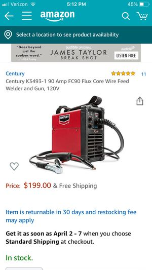 Century K3493-1 90 Amp FC90 Flux Core Wire Feed Welder and Gun, 120V for Sale in Hayward, CA