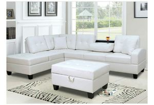 Pablo White Sectional With Ottoman   U5300 for Sale in Fairfax, VA