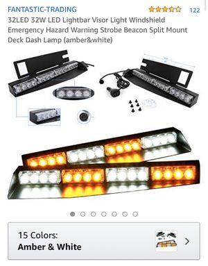 Lightbar visor light windshield emergency hazard warning strobe beacon split mount deck dash lamp ( amber & white) brand new for Sale in Corona, CA