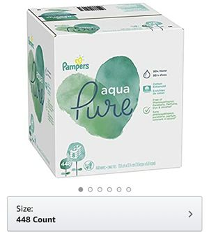 Baby Wipes, Pampers Aqua Pure Sensitive Water Baby Diaper Wipes, Hypoallergenic and Unscented, 8X Pop-Top Packs, 448 Count for Sale in Los Angeles, CA