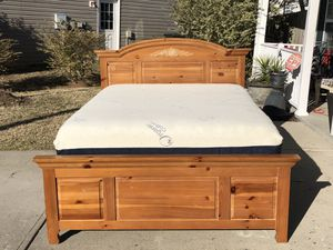 Queen Bed with Real Wood Headboard, Footboard, Side Rails, slats, Mattress and Boxspring. Excellent condition. Delivery available. Hablar espanol for Sale in Raleigh, NC