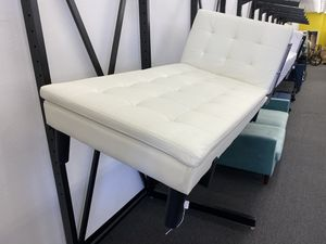 Vanilla Faux Leather Lounge Chaise Futon, Black Legs >ONE AVAILABLE!< for Sale in Houston, TX
