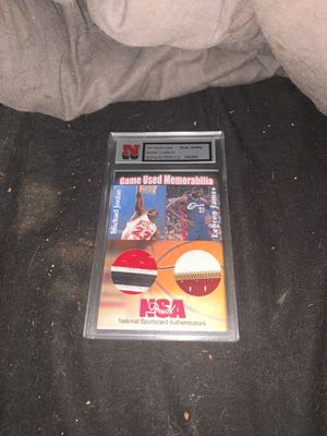 Lebron James and Michael Jordan NSA 1/1 dual jersey relics for Sale in Margate, FL