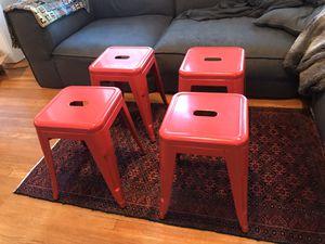 "4 Red Metal Stools 18"" Tall for Sale in Spokane, WA"