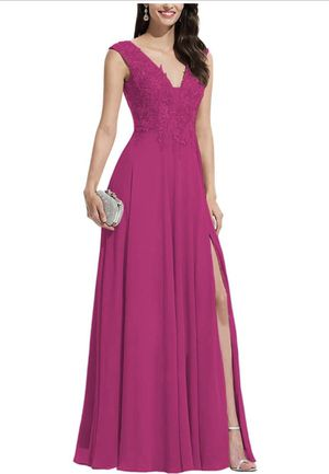 Ubride Women's Slit Lace Prom Dresses Chiffon Appliques V Neck Long Formal Evening Gowns ) for Sale in Sunnyvale, CA