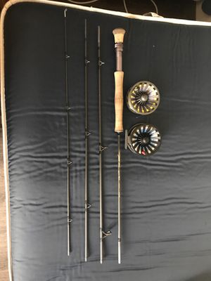 Tfo pro 2 7 wieght rod with Redington Behemoth 7/8 reel with extra spool grey spool as 7ips sinking head beach line black as a light Spey line for Sale in Coronado, CA
