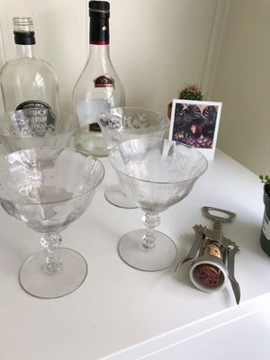 Vintage Etched Crystal Glassware - set of 4 for Sale in Kansas City, MO