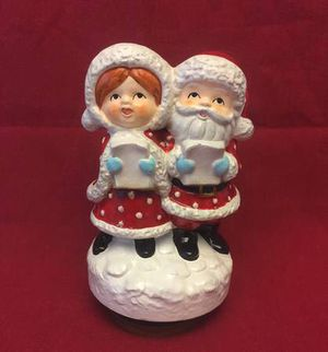 Vintage Japan Christmas music box Mr and Mrs Santa Claus plays Jingle Bells for Sale in Phoenix, AZ