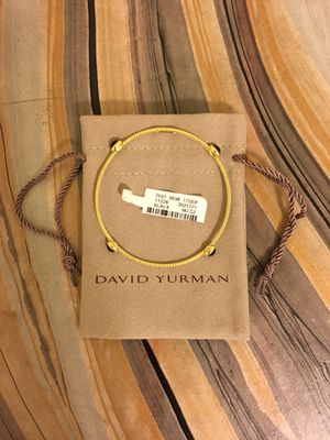David Yurman 4 Station Bracelet Solid 18k Gold and Black Onyx Bangle for Sale in Rockville, MD