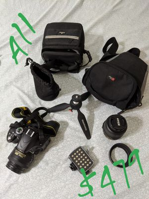 Nikon D5100 DSLR Camera with 18-55mm, 35mm prime Lens with Carrying Case Plus Extras for Sale in Pleasanton, CA